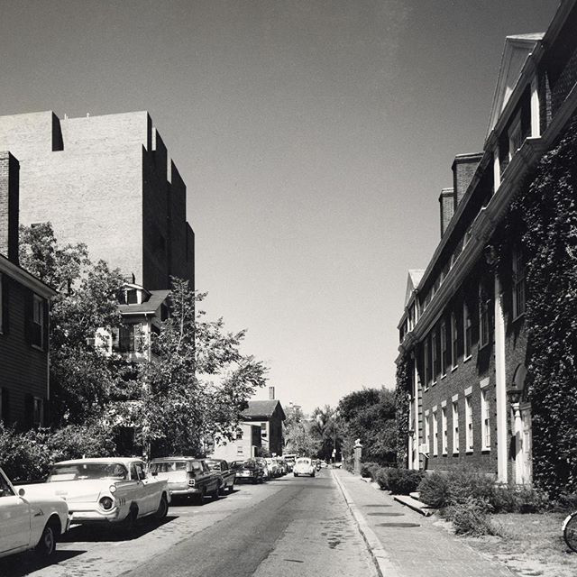 Black and white photo of HGSE campus